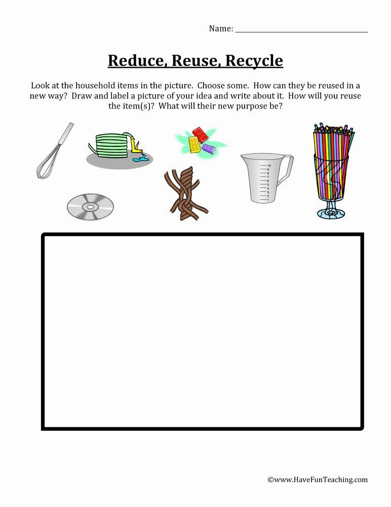 Reduce Reuse Recycle Worksheet Best Of 55 Reduce Reuse Recycle Worksheets Recycling Worksheet 1