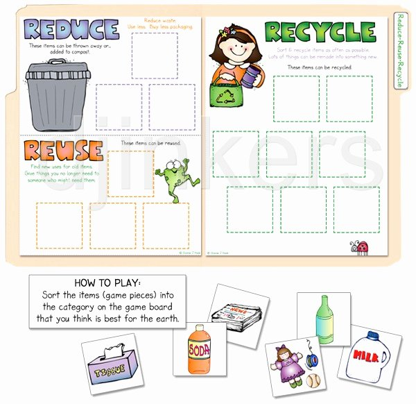 Reduce Reuse Recycle Worksheet Elegant A Printable File Folder Game to Teach the 3 R S by Dj Inkers