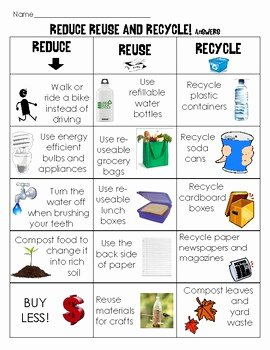 Reduce Reuse Recycle Worksheet Elegant Earth Day sort Reduce Reuse and Recycle Matching Cut and