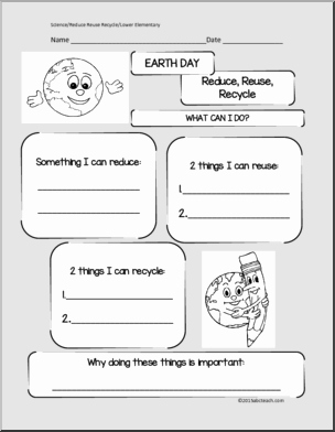Reduce Reuse Recycle Worksheet Fresh Earth Day Writing Elementary Worksheets for Earth Day