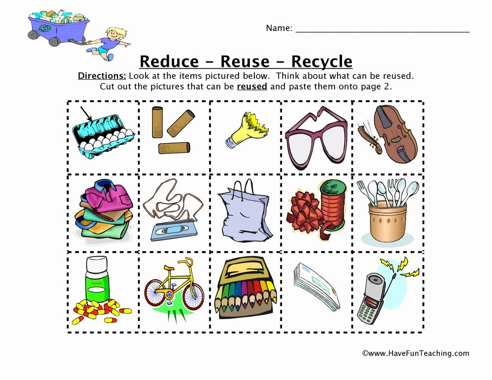Reduce Reuse Recycle Worksheet Fresh Free Worksheets