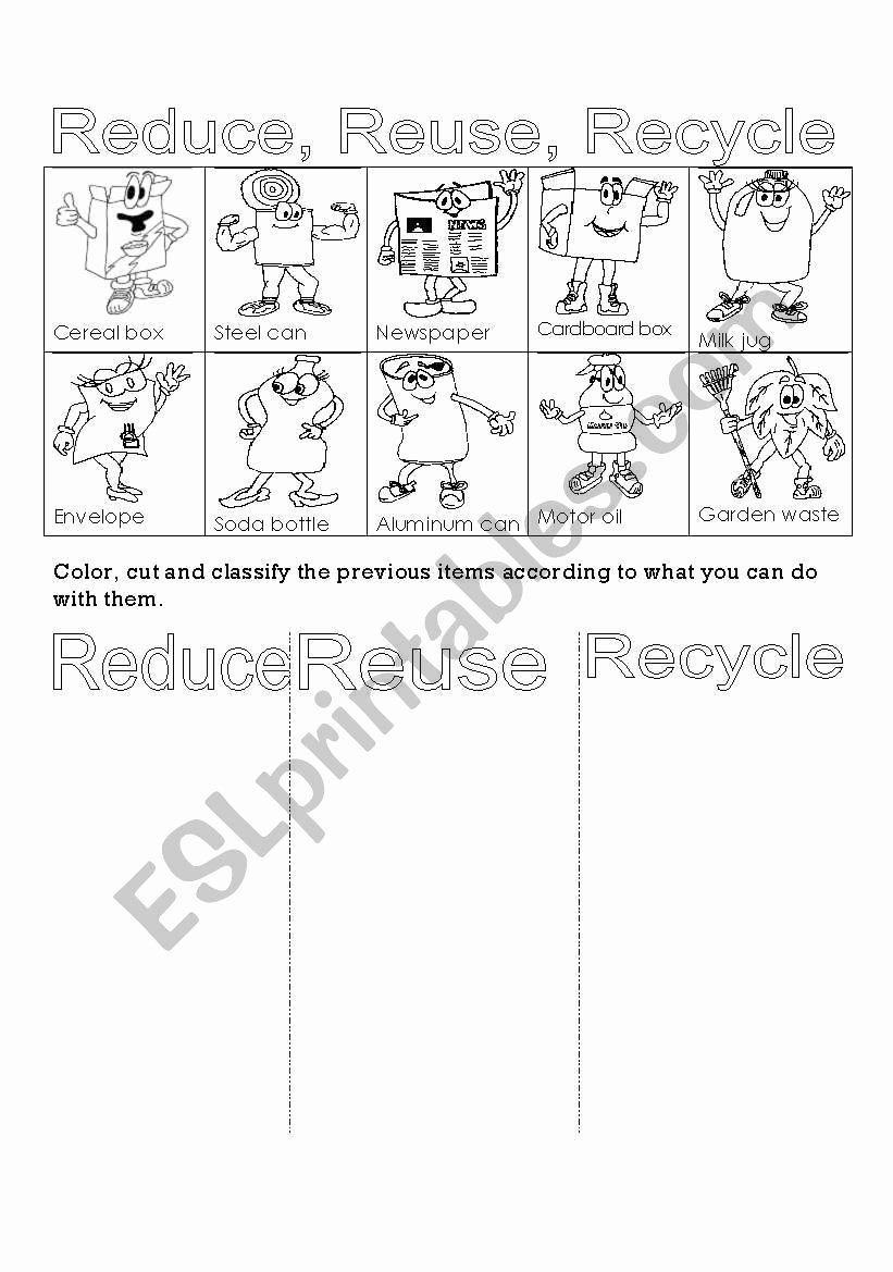 Reduce Reuse Recycle Worksheet Inspirational Reduce Reuse Recycle Esl Worksheet by Eri28