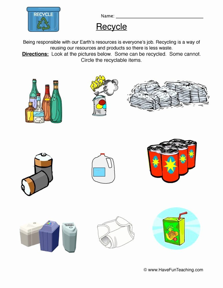 Reduce Reuse Recycle Worksheet Lovely Recycling Worksheets for Preschool Recycling Best Free