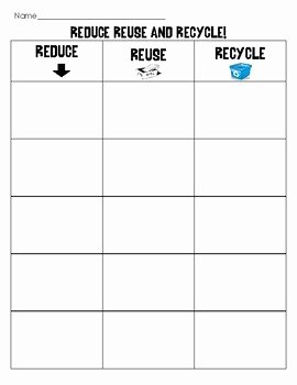 Reduce Reuse Recycle Worksheet Luxury Earth Day sort Reduce Reuse and Recycle Matching Cut and