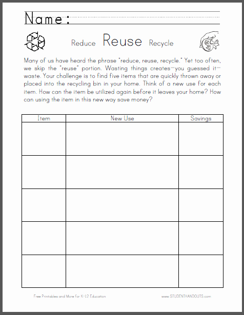 Reduce Reuse Recycle Worksheet Luxury Reuse Worksheet for National Thrift Week the Student S