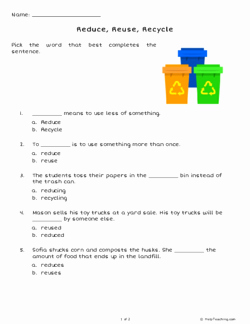 Reduce Reuse Recycle Worksheet Unique Reduce Reuse Recycle Grade 3 Free Printable Tests