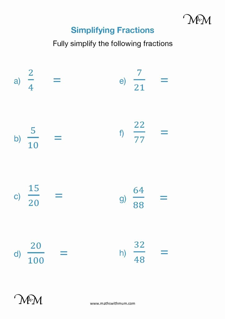 Reducing Fractions Worksheet Pdf Fresh Simplifying Fractions to Simplest form Reducing Maths