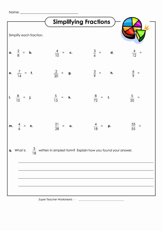 Reducing Fractions Worksheet Pdf Fresh Simplifying Fractions Worksheets with Answers Printable