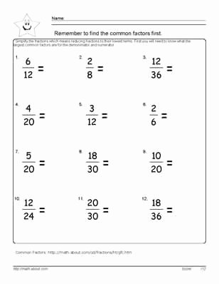 Reducing Fractions Worksheet Pdf New 9 Worksheets On Simplifying Fractions for 6th Graders