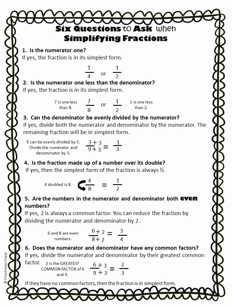 Reducing Fractions Worksheet Pdf New Simplifying Fractions Worksheet and Template