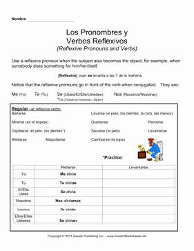 Reflexive Verbs Spanish Worksheet Fresh Spanish Intro Reflexive Verbs