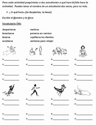 Reflexive Verbs Spanish Worksheet Lovely Listening