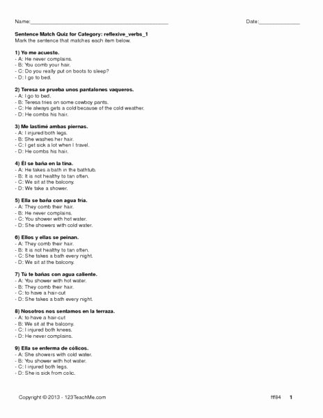 Reflexive Verbs Spanish Worksheet Lovely Reflexive Verbs 1 Worksheet for 8th 9th Grade