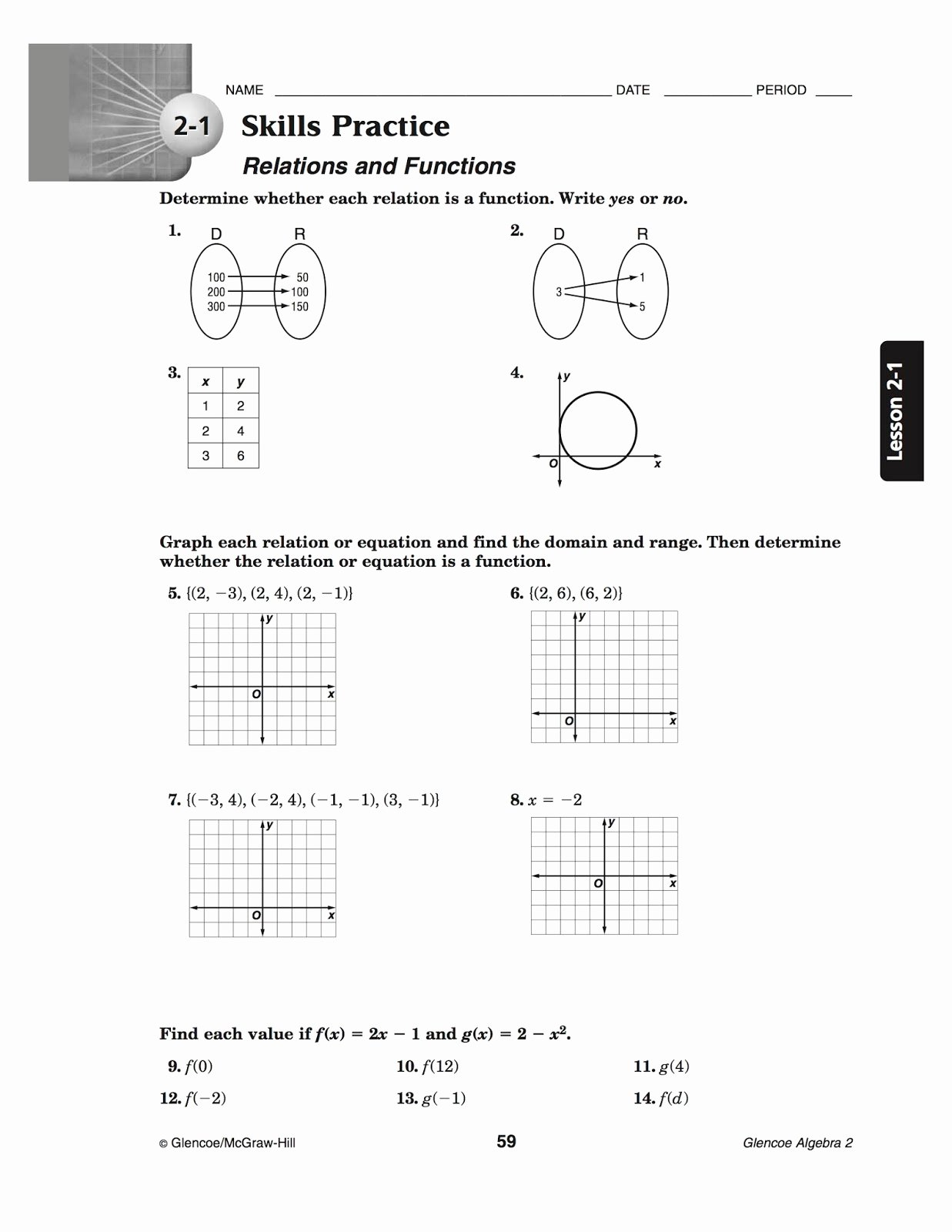Relations and Functions Worksheet Luxury Bacs Algebra 2