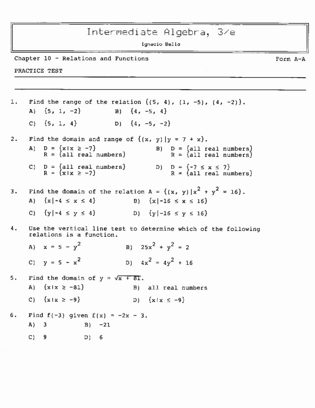 Relations and Functions Worksheet Unique Chapter 10 Relations and Functions Practice Test