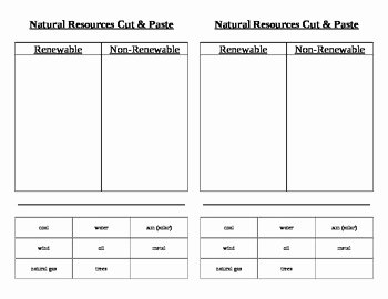Renewable and Nonrenewable Resources Worksheet Awesome Natural Renewable and Nonrenewable Resources Cut & Paste