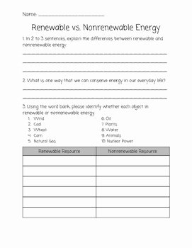 Renewable and Nonrenewable Resources Worksheet Best Of Renewable Vs Nonrenewable Resources 4th Grade Science