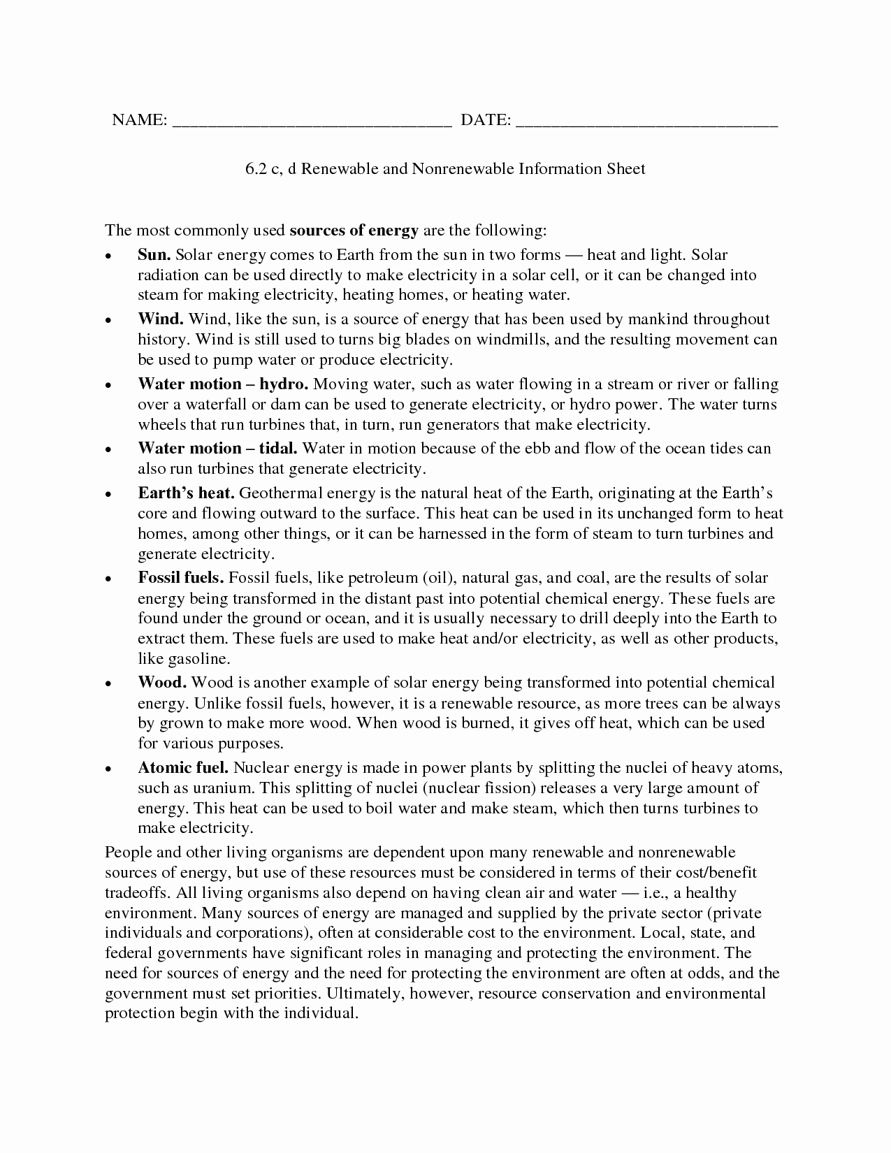 Renewable and Nonrenewable Resources Worksheet Best Of Renewables Renewable and Nonrenewable Worksheet Answers