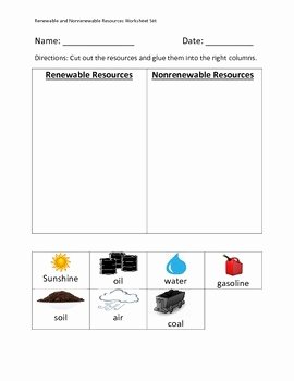 Renewable and Nonrenewable Resources Worksheet Elegant Renewable and Nonrenewable Resources Worksheet Set by Erin