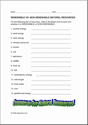 Renewable and Nonrenewable Resources Worksheet Elegant Renewable Resources Renewable Resources Vs Nonrenewable