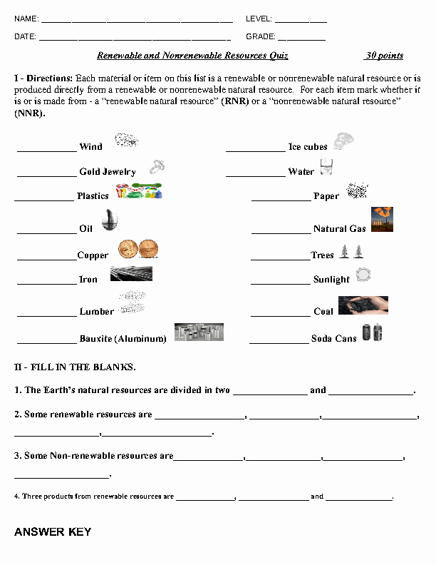 Renewable and Nonrenewable Resources Worksheet Inspirational Renewable and Non Renewable Resources Quiz
