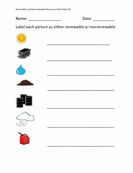 Renewable and Nonrenewable Resources Worksheet Inspirational Renewable and Nonrenewable Resources Worksheet Set by Erin