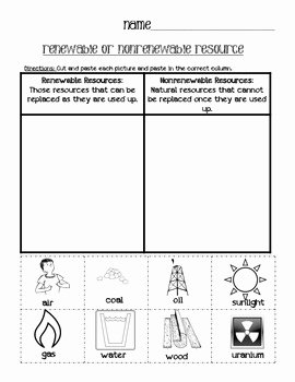 Renewable and Nonrenewable Resources Worksheet Luxury Renewable or Nonrenewable Resources Cut and Paste sort by