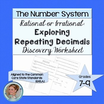 Repeating Decimal to Fraction Worksheet Elegant Repeating Decimals Discovery Worksheet by Free to Discover