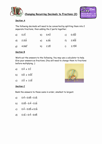 Repeating Decimal to Fraction Worksheet New Changing Recurring Decimals Into Fractions by Owen