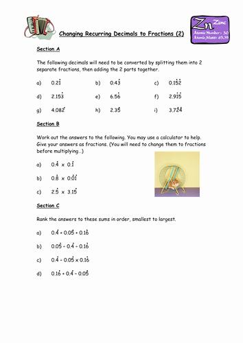 Repeating Decimals to Fractions Worksheet Awesome Changing Recurring Decimals Into Fractions by Owen