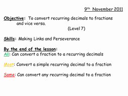 Repeating Decimals to Fractions Worksheet Elegant Converting Fractions to & From Recurring Decimals by