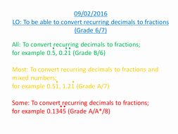 Repeating Decimals to Fractions Worksheet Fresh Converting Recurring Decimals Into Fractions by Jkarkin79