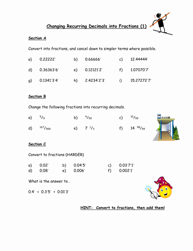 Repeating Decimals to Fractions Worksheet Inspirational Changing Recurring Decimals Into Fractions by Owen