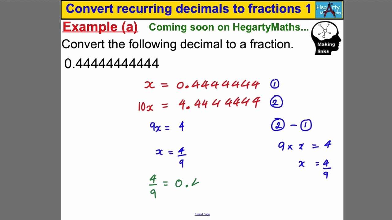 Repeating Decimals to Fractions Worksheet Luxury Convert Recurring Decimals to Fractions 1