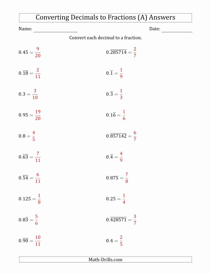 Repeating Decimals to Fractions Worksheet Unique Converting Terminating and Repeating Decimals to Fractions A