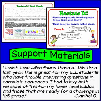 Restating the Question Worksheet Beautiful Restate the Question Task Cards Beginning Set for Grades