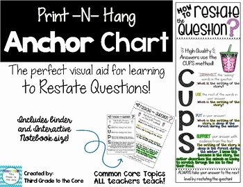 Restating the Question Worksheet Best Of Anchor Chart Restate the Question by Third Grade to the