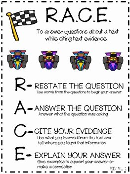 Restating the Question Worksheet Fresh Anchor Chart for Teaching Race Restate Answer Cite