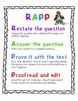 Restating the Question Worksheet Inspirational Rapp Anchor Chart Restate Answer Prove Proofread by