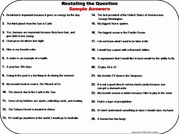 Restating the Question Worksheet Lovely Restating the Question Task Cards 2nd 3rd 4th Grade ask