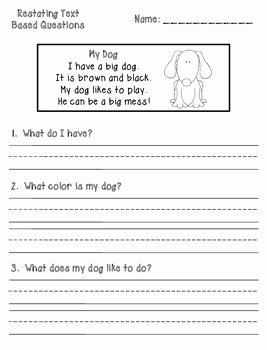 Restating the Question Worksheet Lovely Text Based Prehension Question Printables