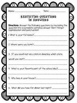 Restating the Question Worksheet Luxury Restating Questions In Answers Answering In Plete
