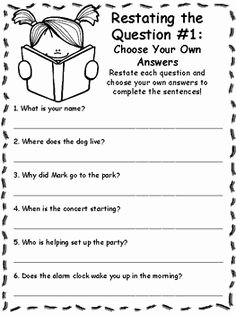 Restating the Question Worksheet Luxury Table Contents 2nd 3rd Grade Worksheet Lesson Pla