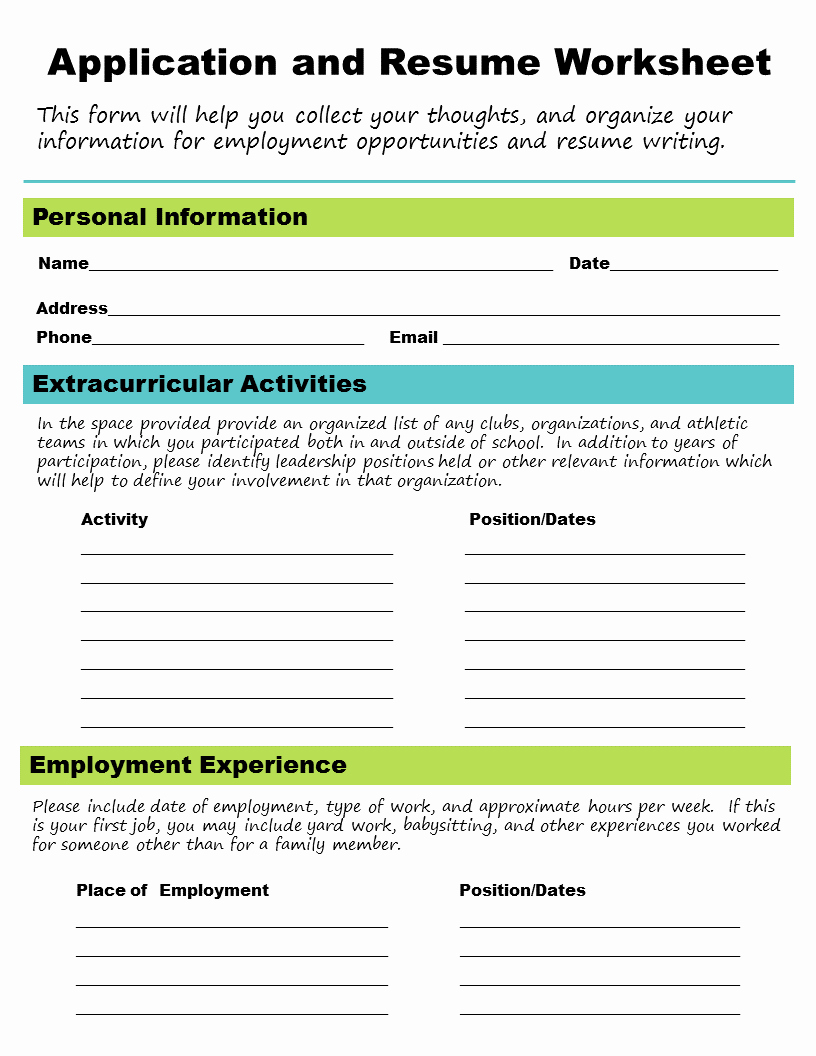 Resume Worksheet for Adults Awesome Get A Job Career Skills