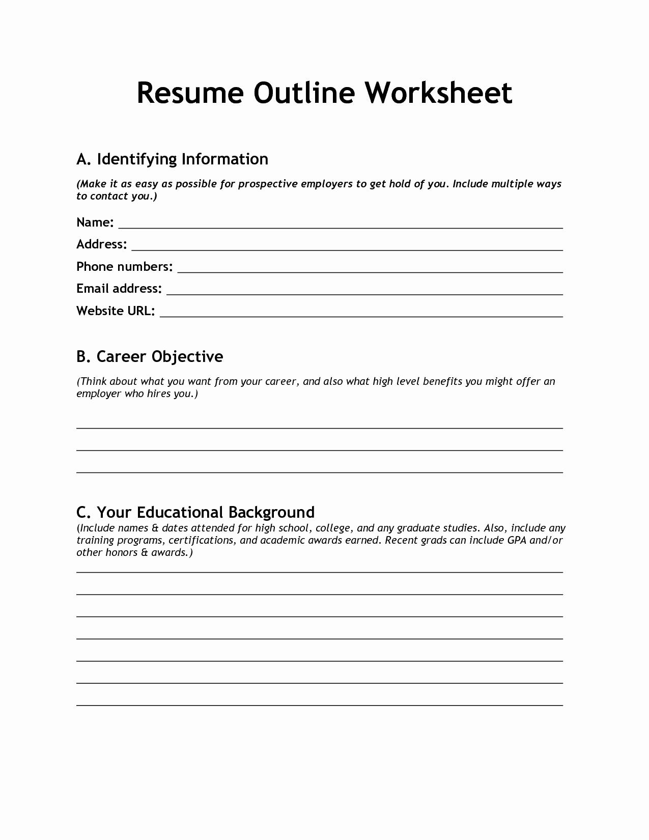 Resume Worksheet for Adults Awesome Resume Building Worksheet