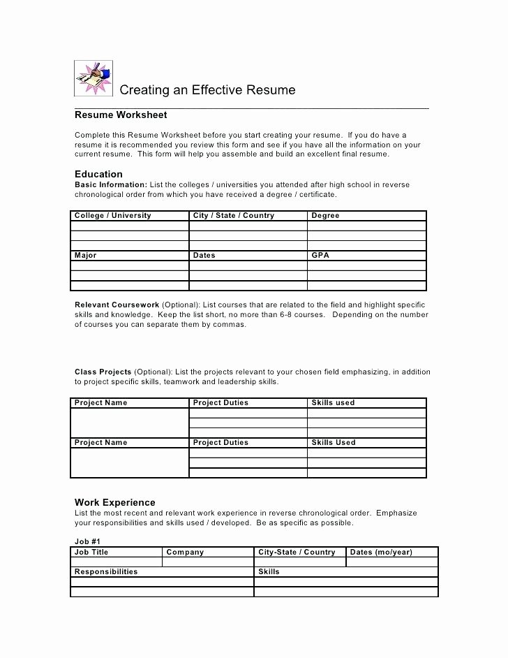 Resume Worksheet for Adults Awesome Resume Worksheet for High School Students the Best