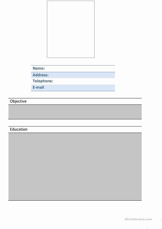 Resume Worksheet for Adults Beautiful 4 Free Esl Resume Worksheets