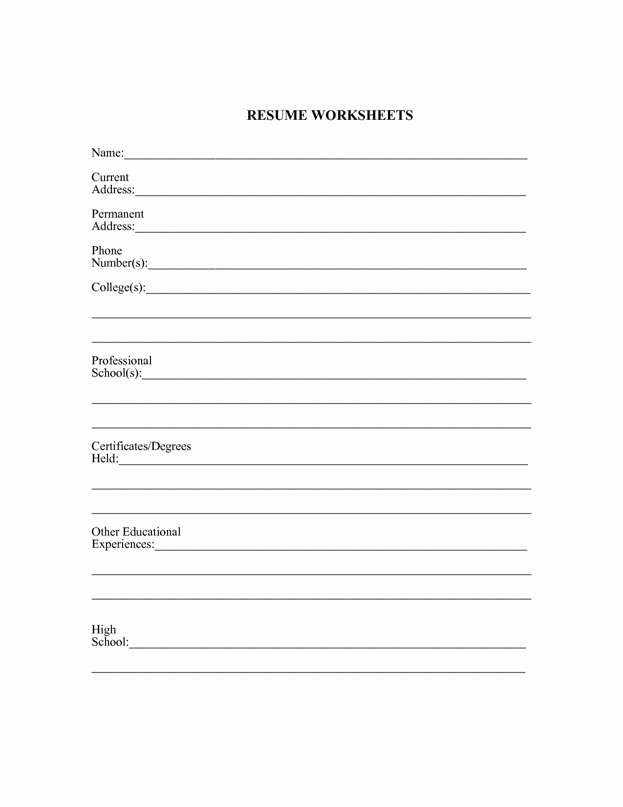 Resume Worksheet for Adults Best Of 17 Best Of Creating A Resume Worksheet Fill In