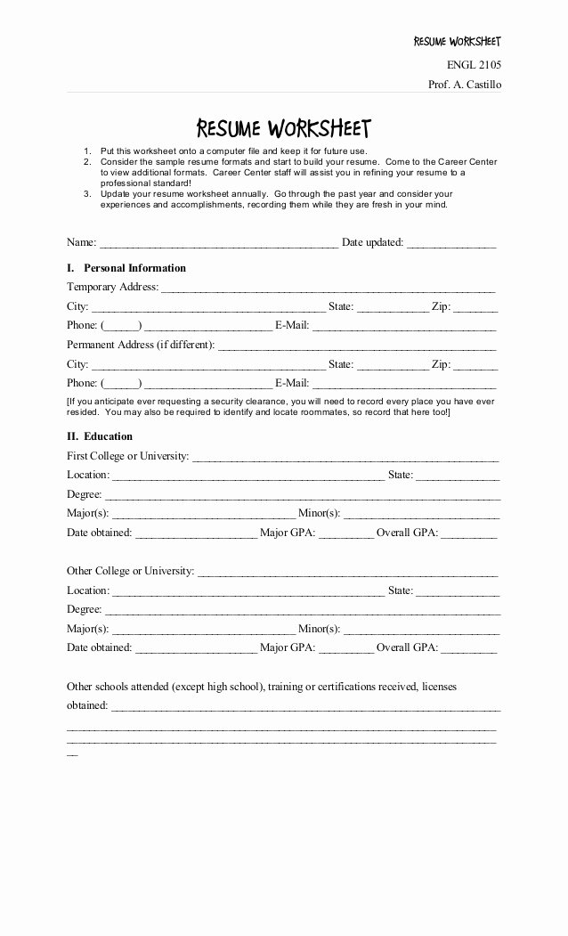 Resume Worksheet for Adults Fresh Resume Worksheet