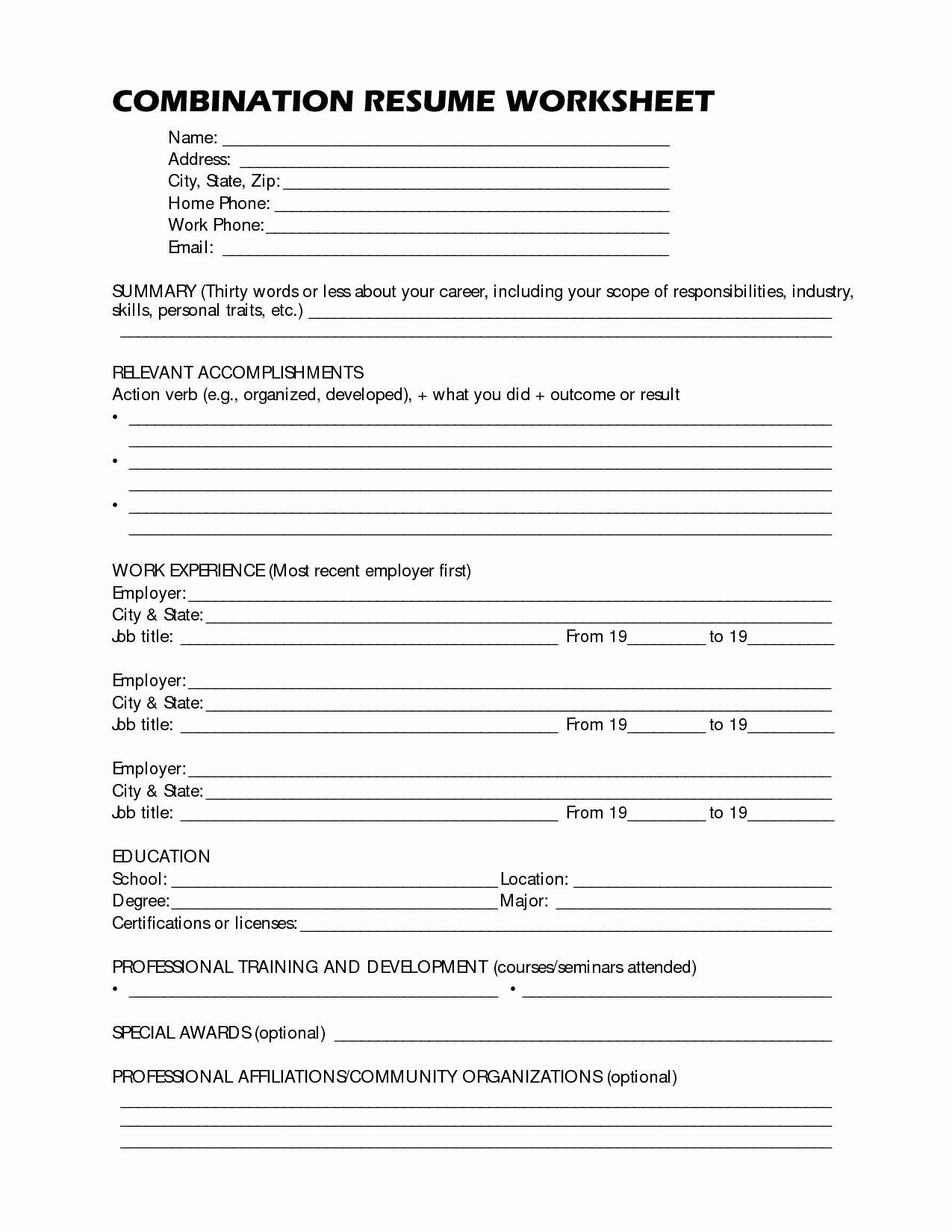 Resume Worksheet for Adults Inspirational 19 Best Of Resume format Worksheet High School